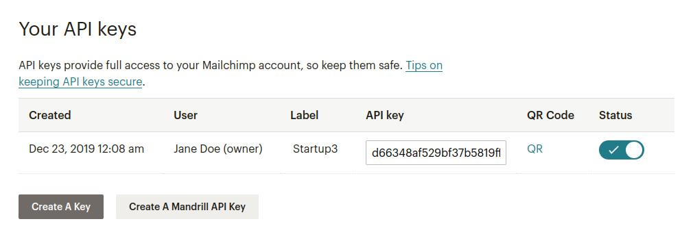 API key on Mailchim