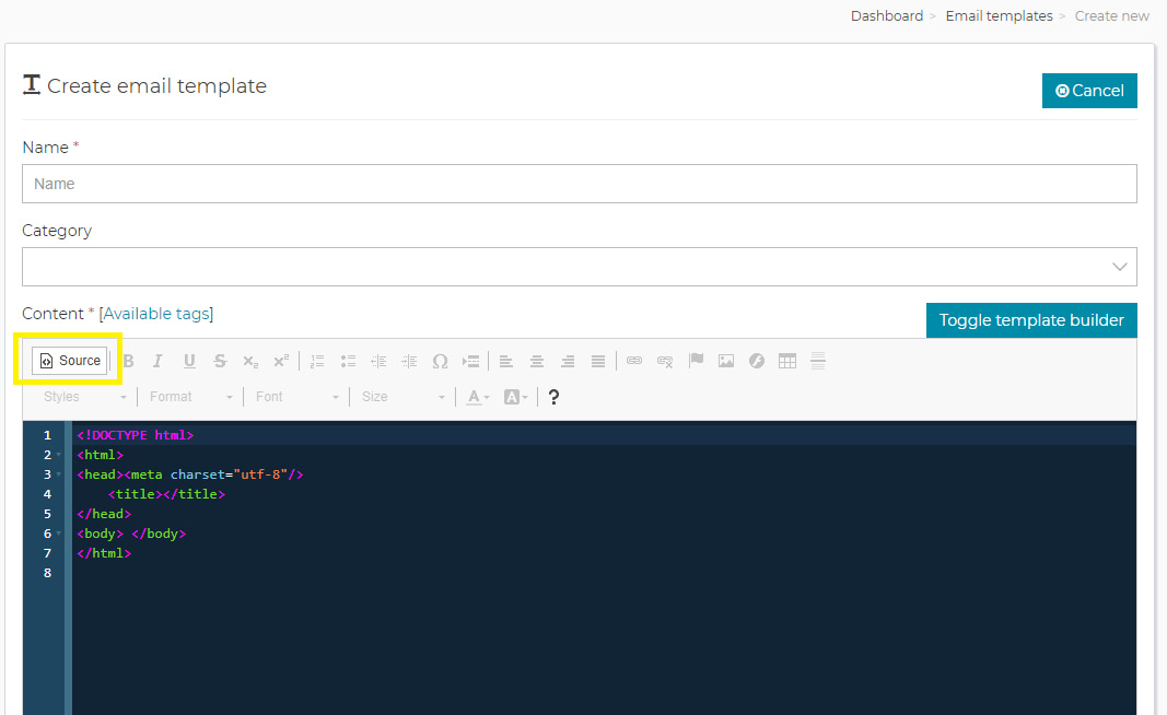 Create a Mailwizz template using the Postcards template code