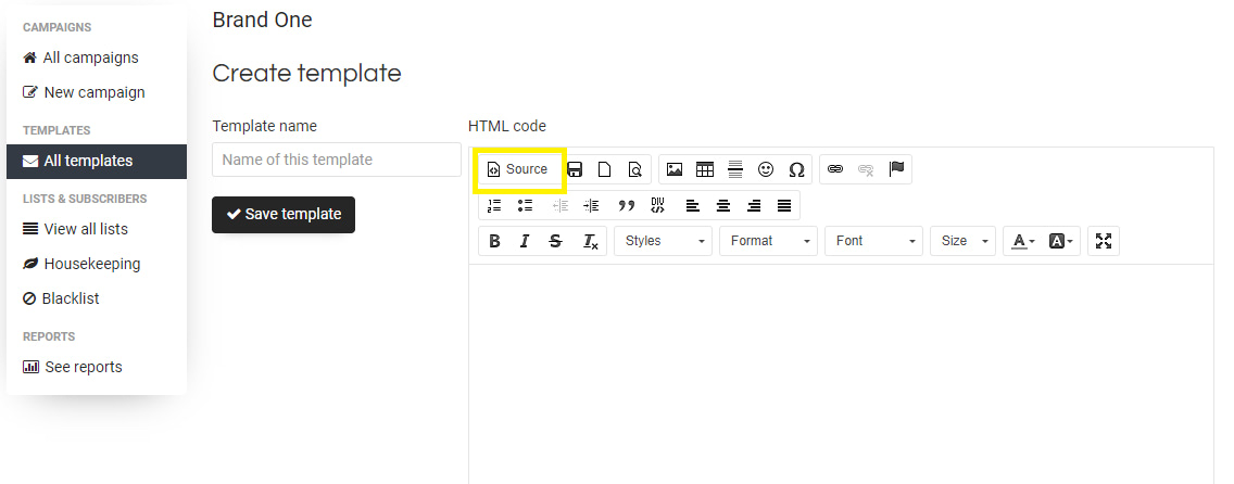 Create a template in Sendy using the Postcards files
