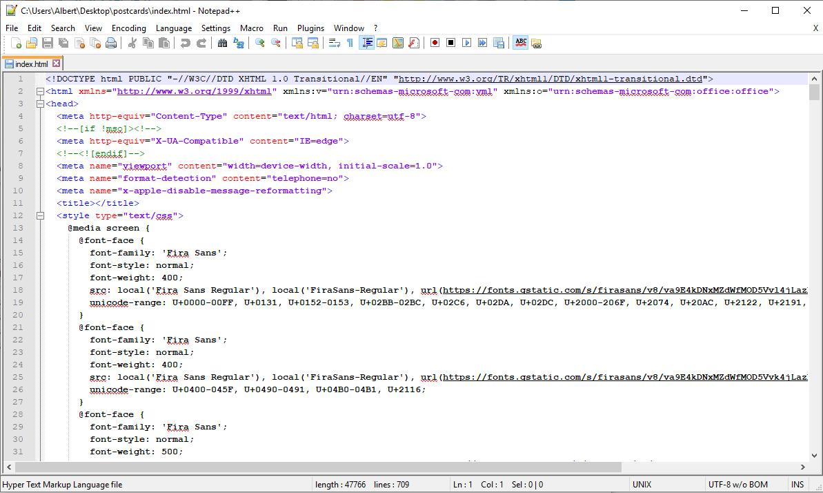 Notepad++ text editor view