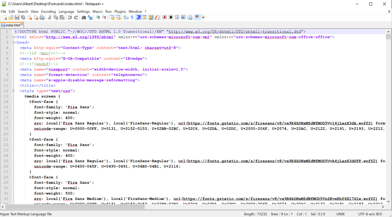 Open the index.html file