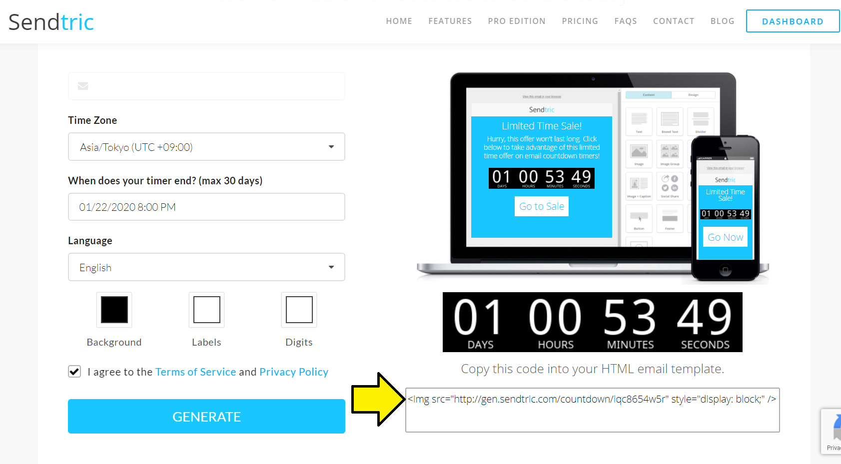 Create a countdown timer in Sendtric