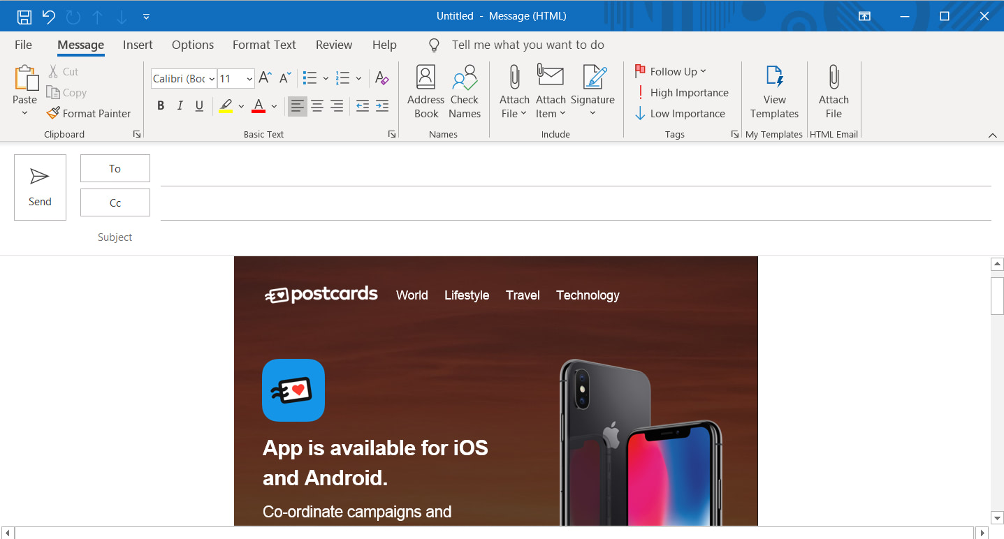 Postcards template in an Outlook 365 email