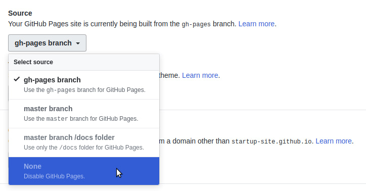 Unpublishing a GitHub Pages Site