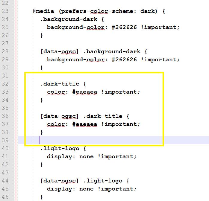 Dark title code