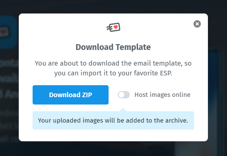 Create an email template and manually upload images
