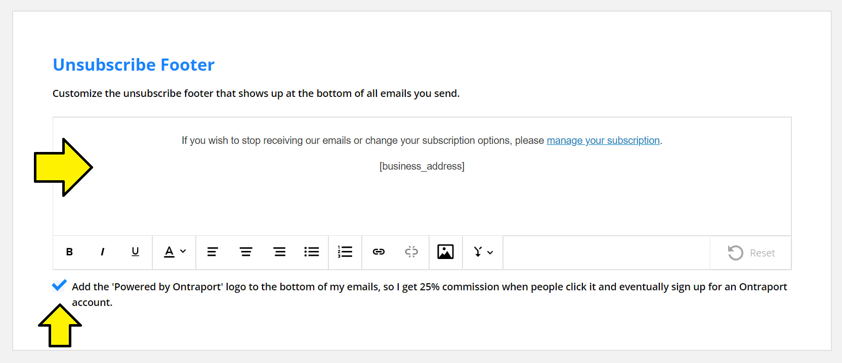 Update your unsubscription footer