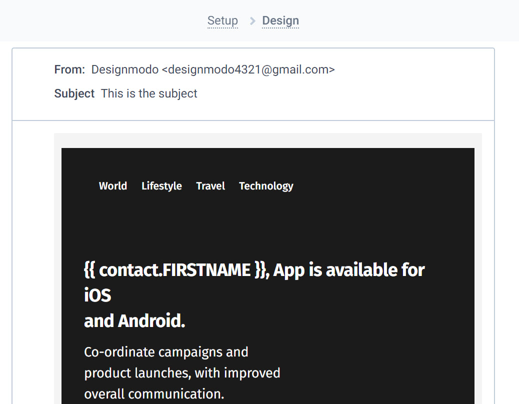 Create an email template Sendinblue
