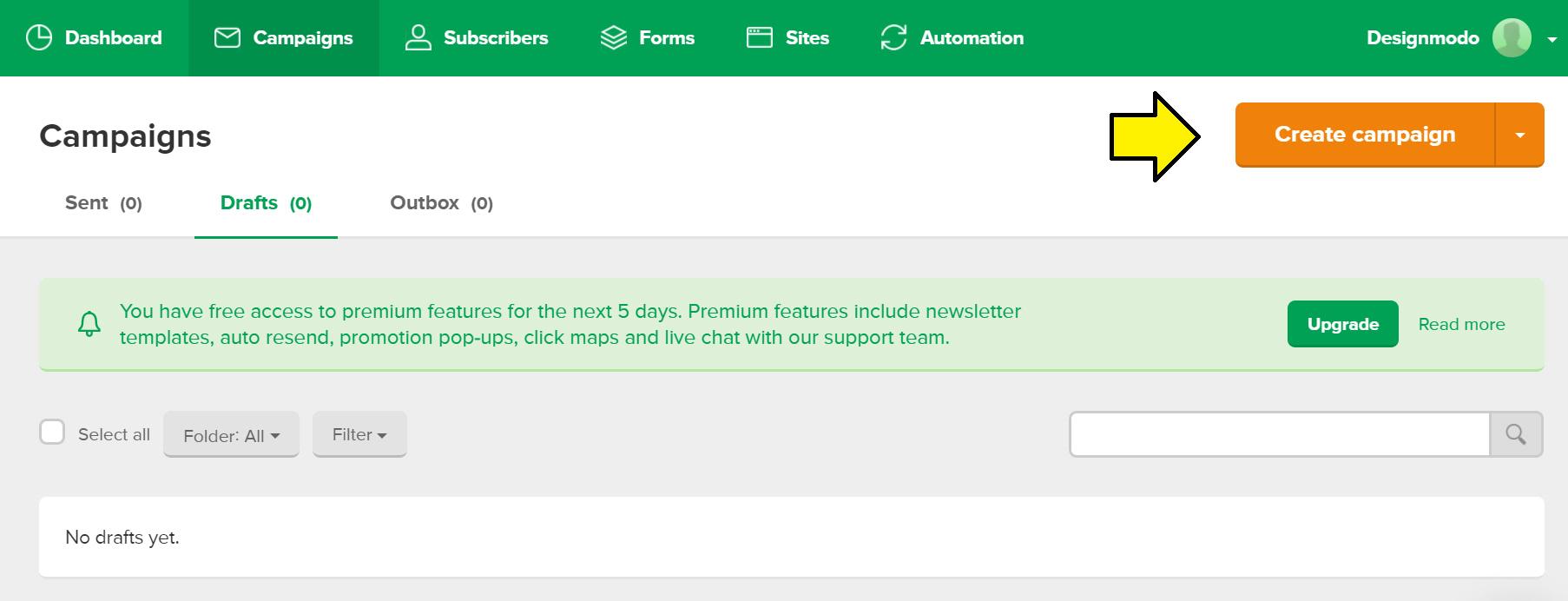 Create a custom campaign in Mailerlite