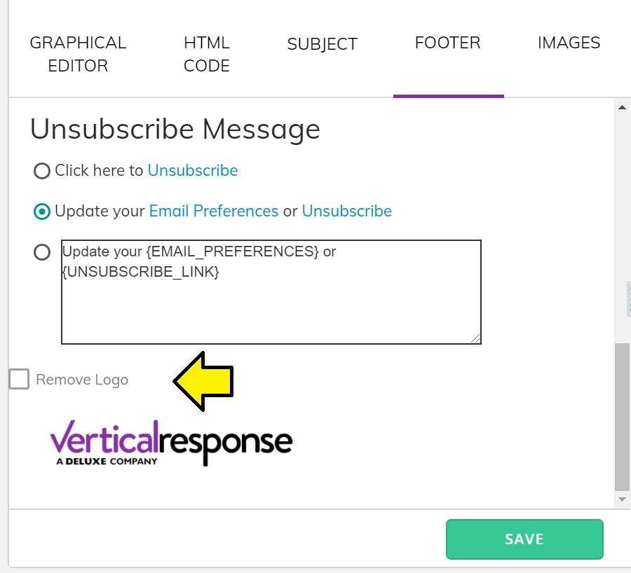 Remove Vertical Response logo
