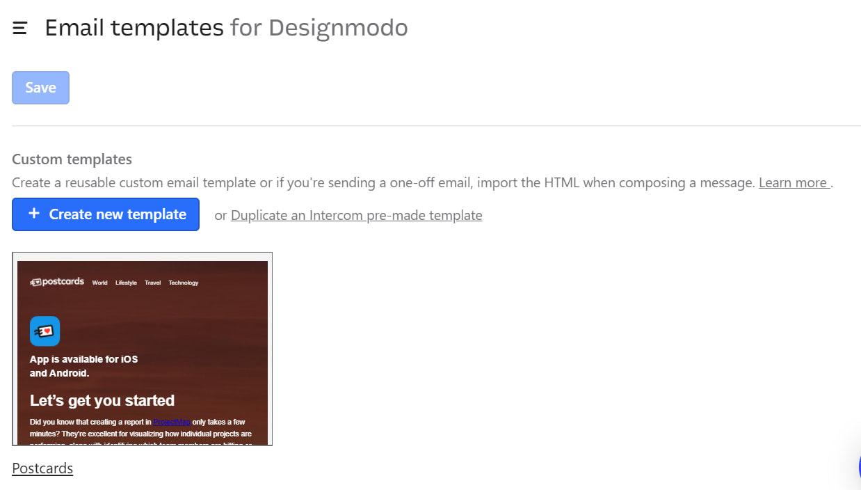 Save email template intercom