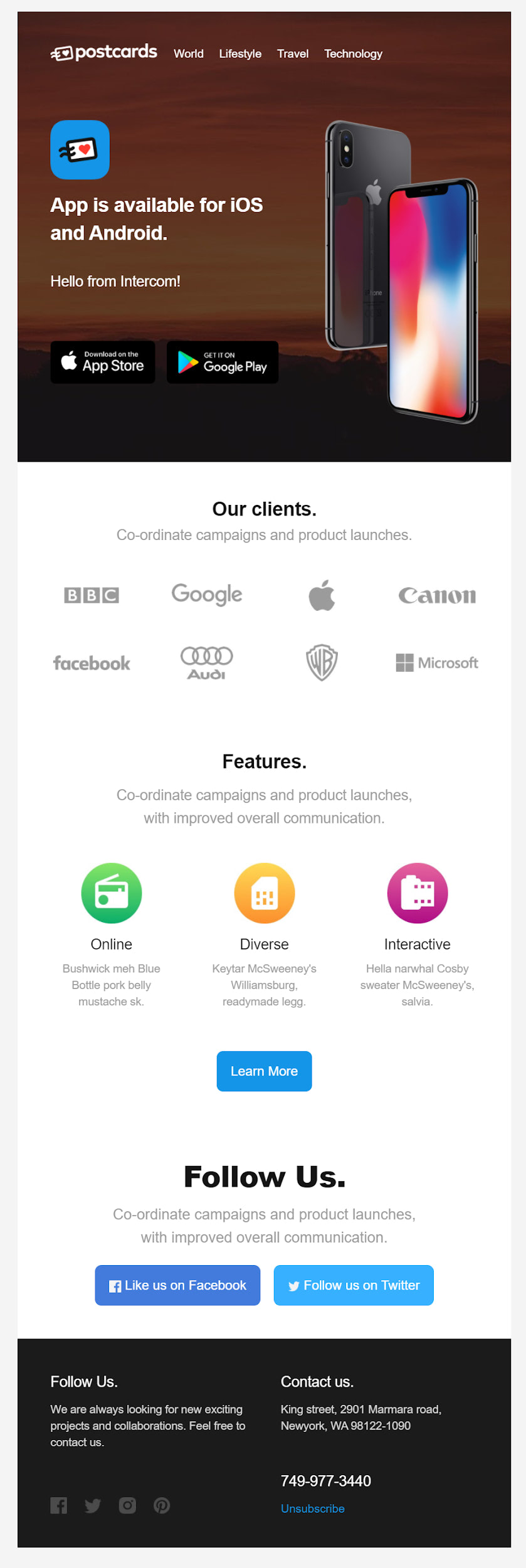 HTML email template in Intercom