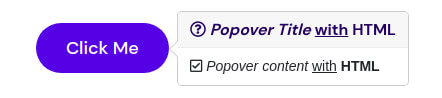 Popover with custom HTML
