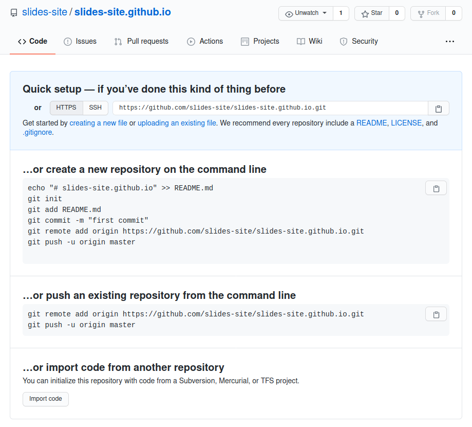 How to Upload Your Slides Website to GitHub Pages, created repository 1